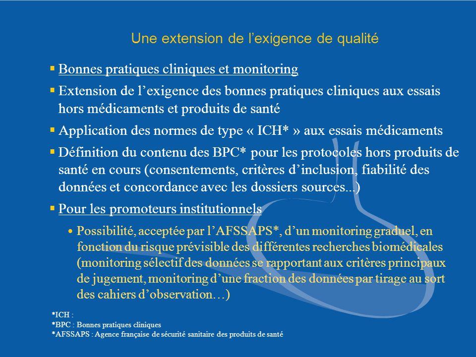 Une extension de lexigence de qualité Bonnes pratiques cliniques et monitoring Extension de lexigence des bonnes pratiques cliniques aux essais hors m