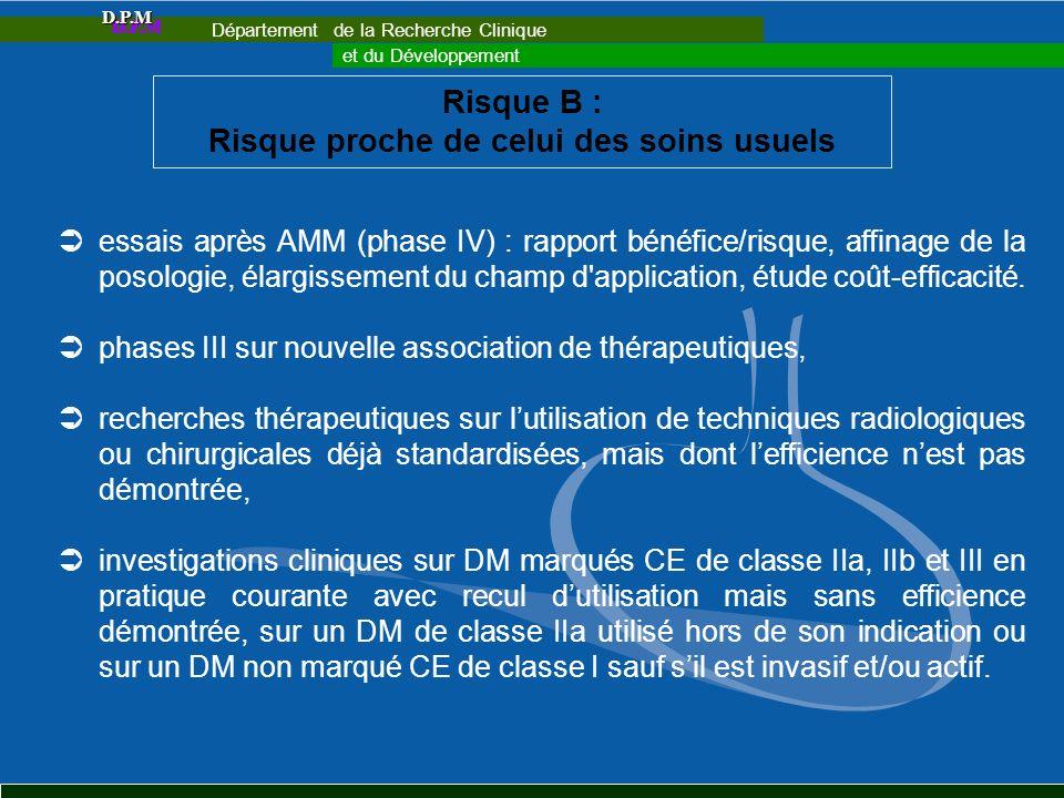 Risque B : Risque proche de celui des soins usuels essais après AMM (phase IV) : rapport bénéfice/risque, affinage de la posologie, élargissement du c