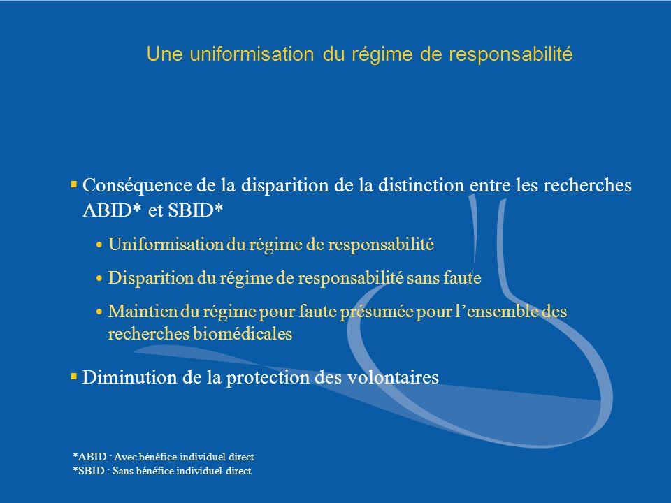 Une uniformisation du régime de responsabilité Conséquence de la disparition de la distinction entre les recherches ABID* et SBID* Uniformisation du r