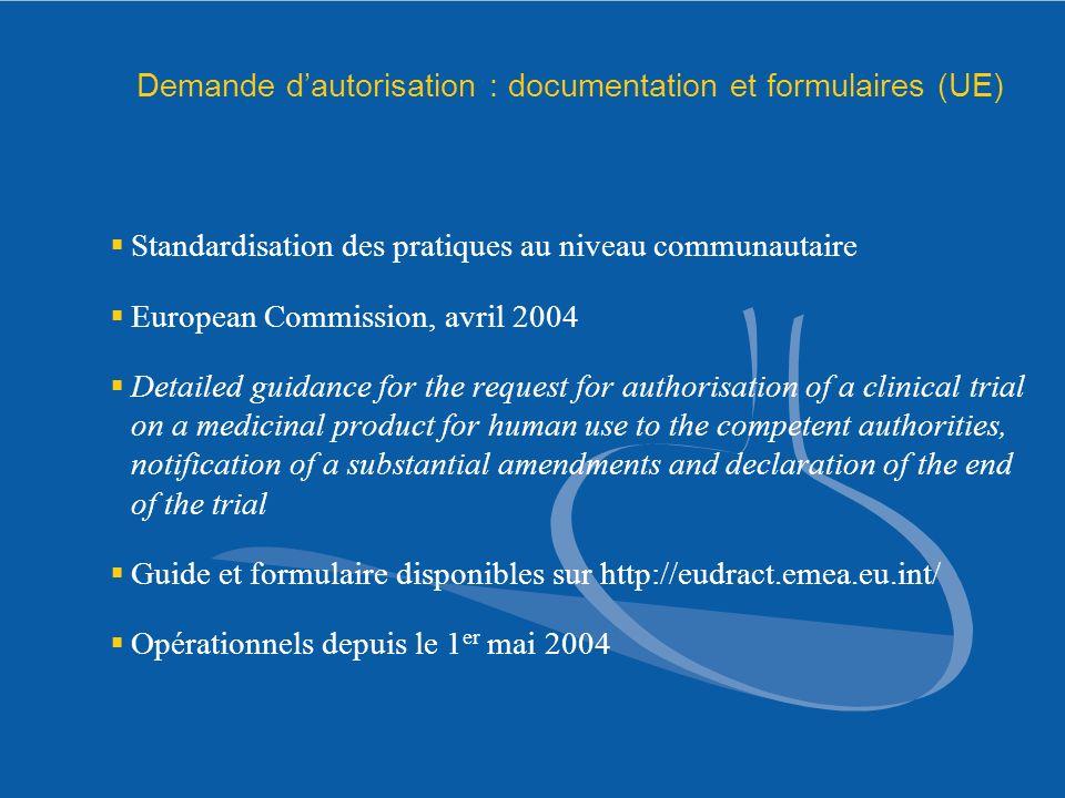 Demande dautorisation : documentation et formulaires (UE) Standardisation des pratiques au niveau communautaire European Commission, avril 2004 Detail