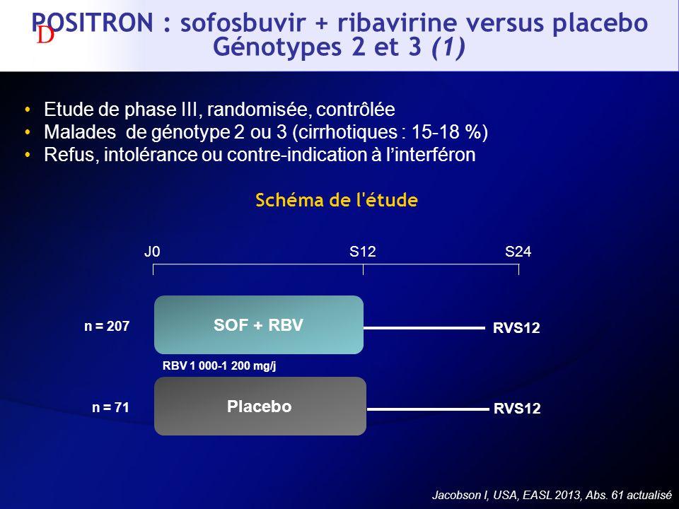 POSITRON : sofosbuvir + ribavirine versus placebo Génotypes 2 et 3 (1) Etude de phase III, randomisée, contrôlée Malades de génotype 2 ou 3 (cirrhotiq