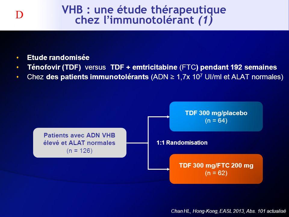VHB : une étude thérapeutique chez limmunotolérant (1) Etude randomisée Ténofovir (TDF) versus TDF + emtricitabine (FTC) pendant 192 semaines Chez des