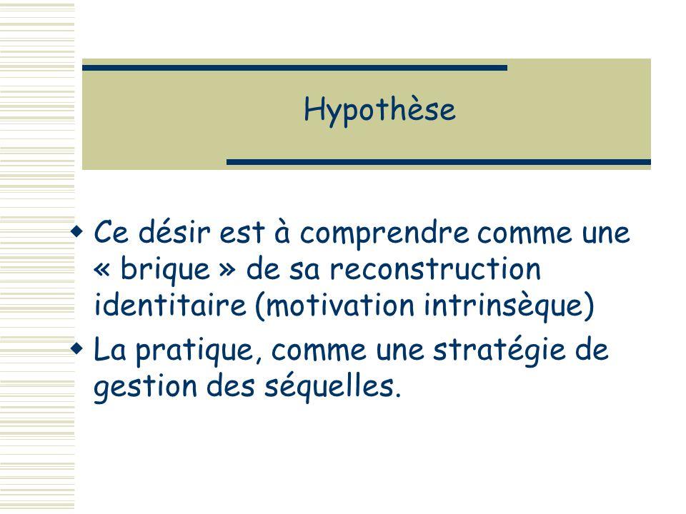 Hypothèse Ce désir est à comprendre comme une « brique » de sa reconstruction identitaire (motivation intrinsèque) La pratique, comme une stratégie de gestion des séquelles.