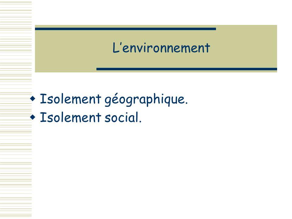 Lenvironnement Isolement géographique. Isolement social.