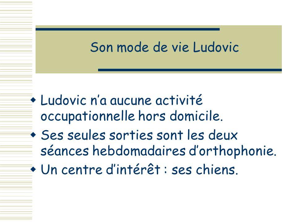 Son mode de vie Ludovic Ludovic na aucune activité occupationnelle hors domicile.