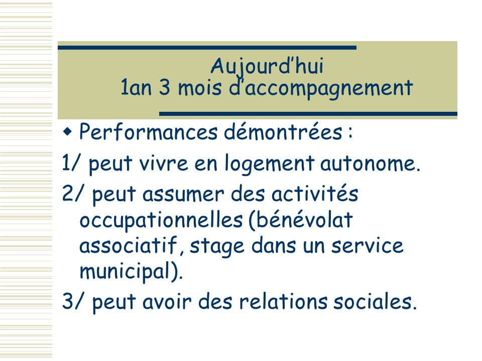 Aujourdhui 1an 3 mois daccompagnement Performances démontrées : 1/ peut vivre en logement autonome.