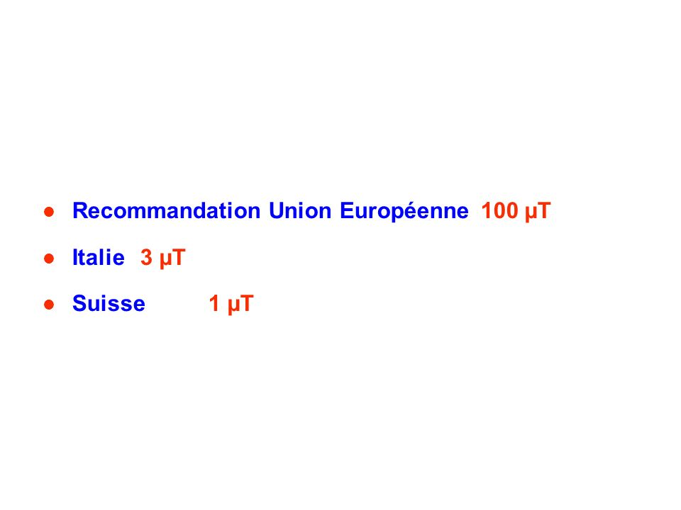 Recommandation Union Européenne100 µT Italie 3 µT Suisse1 µT
