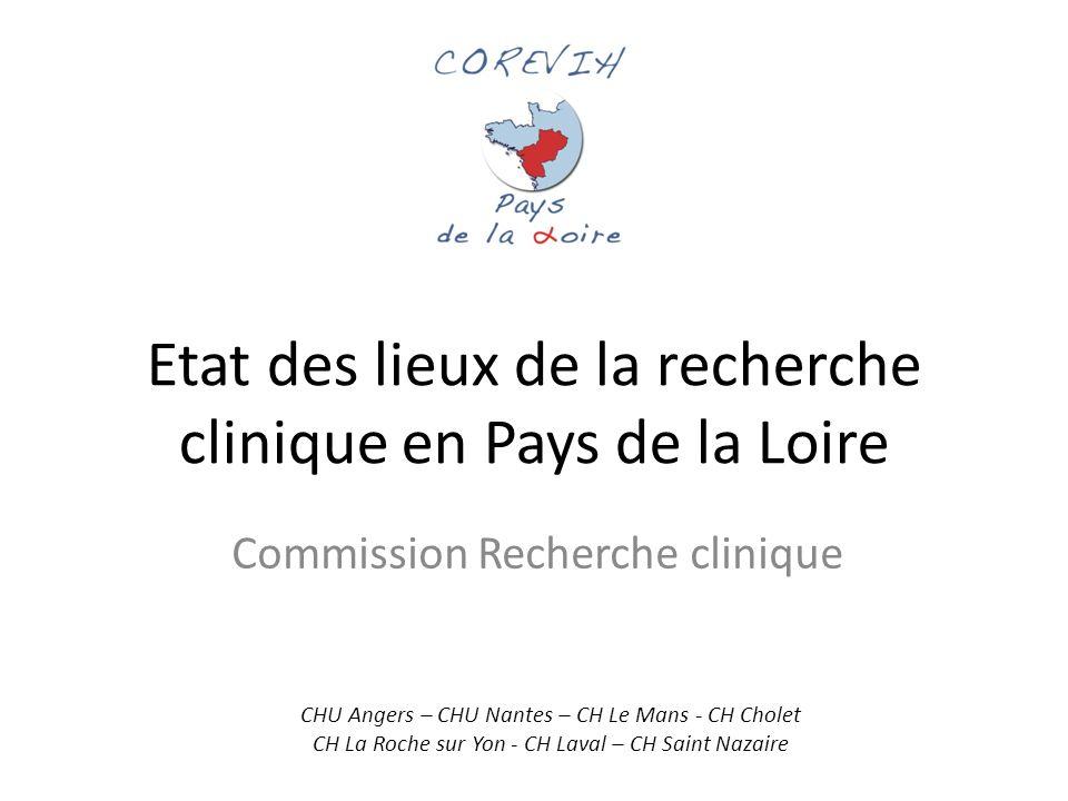 Etat des lieux de la recherche clinique en Pays de la Loire Commission Recherche clinique CHU Angers – CHU Nantes – CH Le Mans - CH Cholet CH La Roche