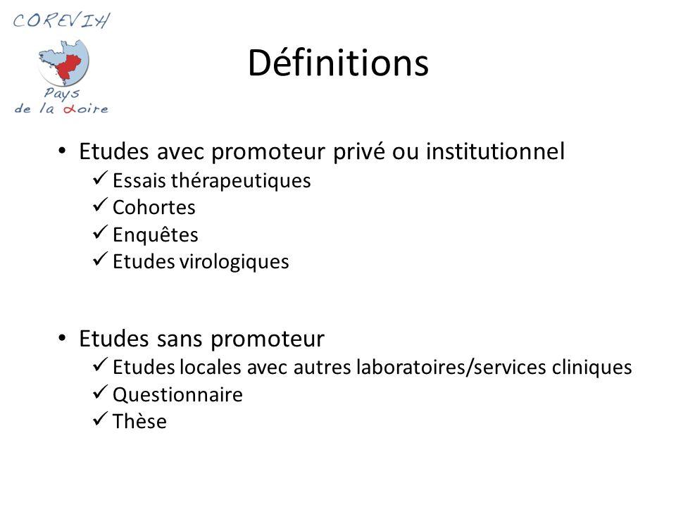 Définitions 1 Etudes avec promoteur privé ou institutionnel Essais thérapeutiques Cohortes Enquêtes Etudes virologiques Etudes sans promoteur Etudes l