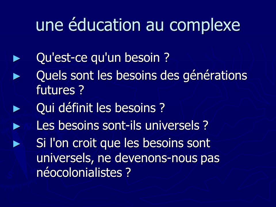 une éducation au complexe Qu'est-ce qu'un besoin ? Qu'est-ce qu'un besoin ? Quels sont les besoins des générations futures ? Quels sont les besoins de