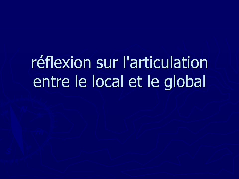 réflexion sur l articulation entre le local et le global