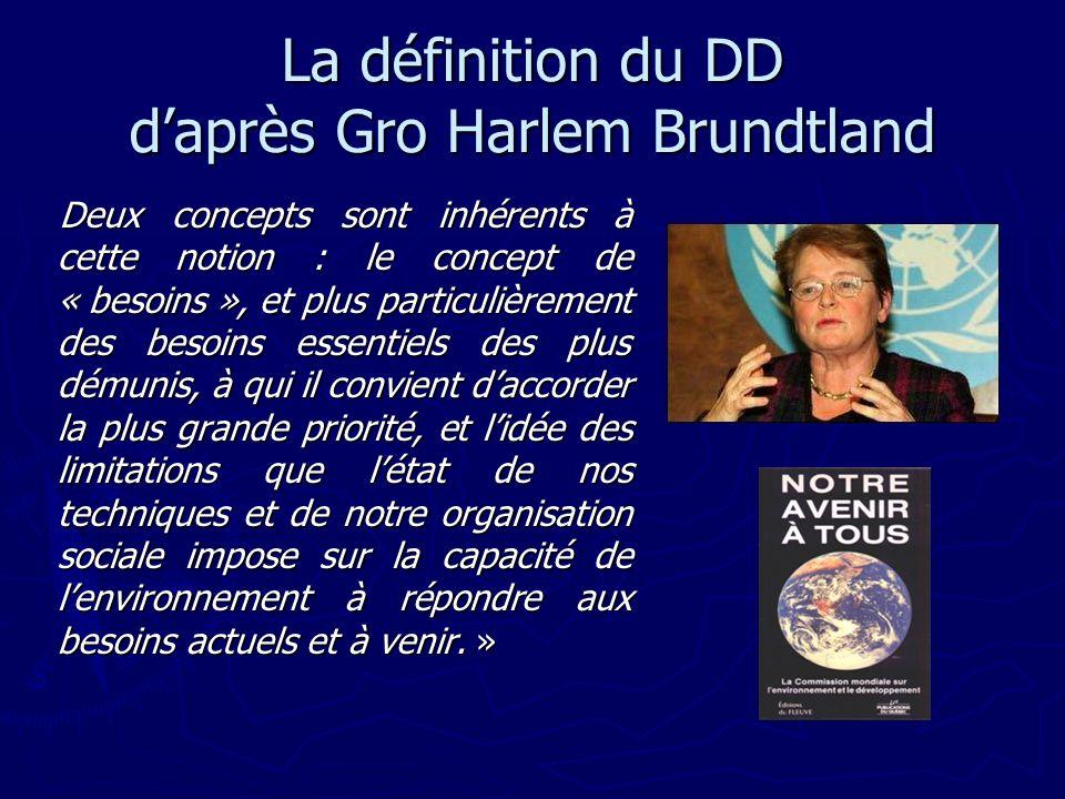 La définition du DD daprès Gro Harlem Brundtland Deux concepts sont inhérents à cette notion : le concept de « besoins », et plus particulièrement des
