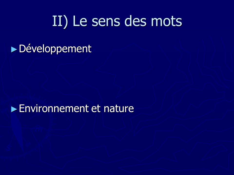 II) Le sens des mots Développement Développement Environnement et nature Environnement et nature