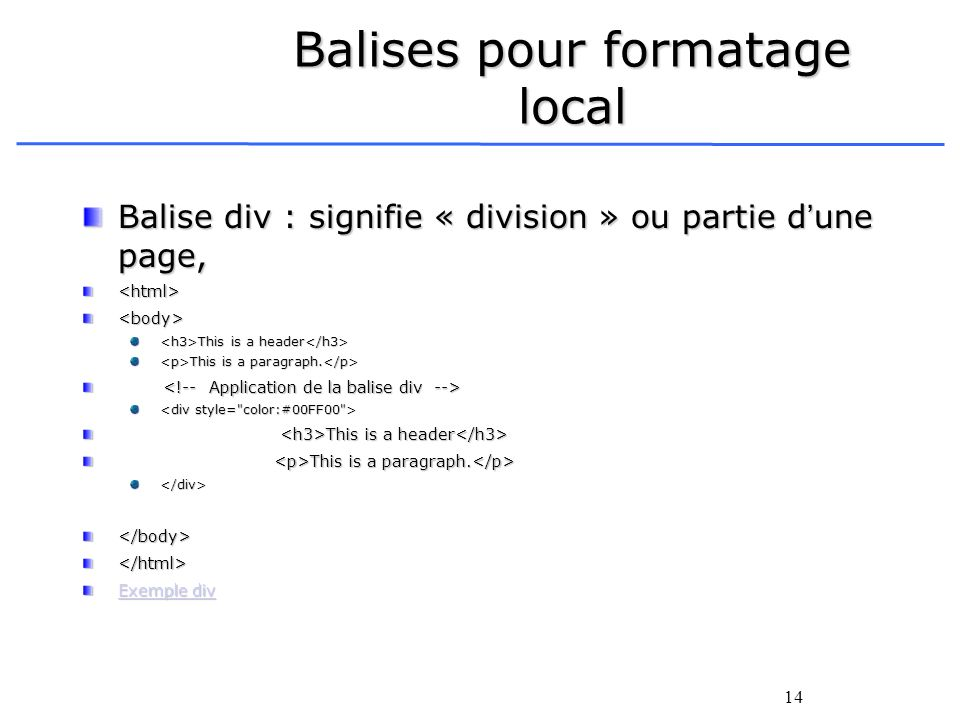 14 Balises pour formatage local Balise div : signifie « division » ou partie dune page, <html><body> This is a header This is a header This is a parag