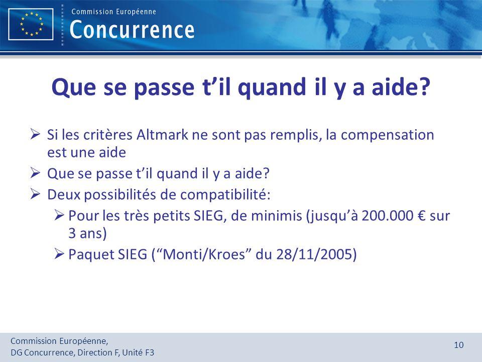 Commission Européenne, DG Concurrence, Direction F, Unité F3 10 Que se passe til quand il y a aide? Si les critères Altmark ne sont pas remplis, la co