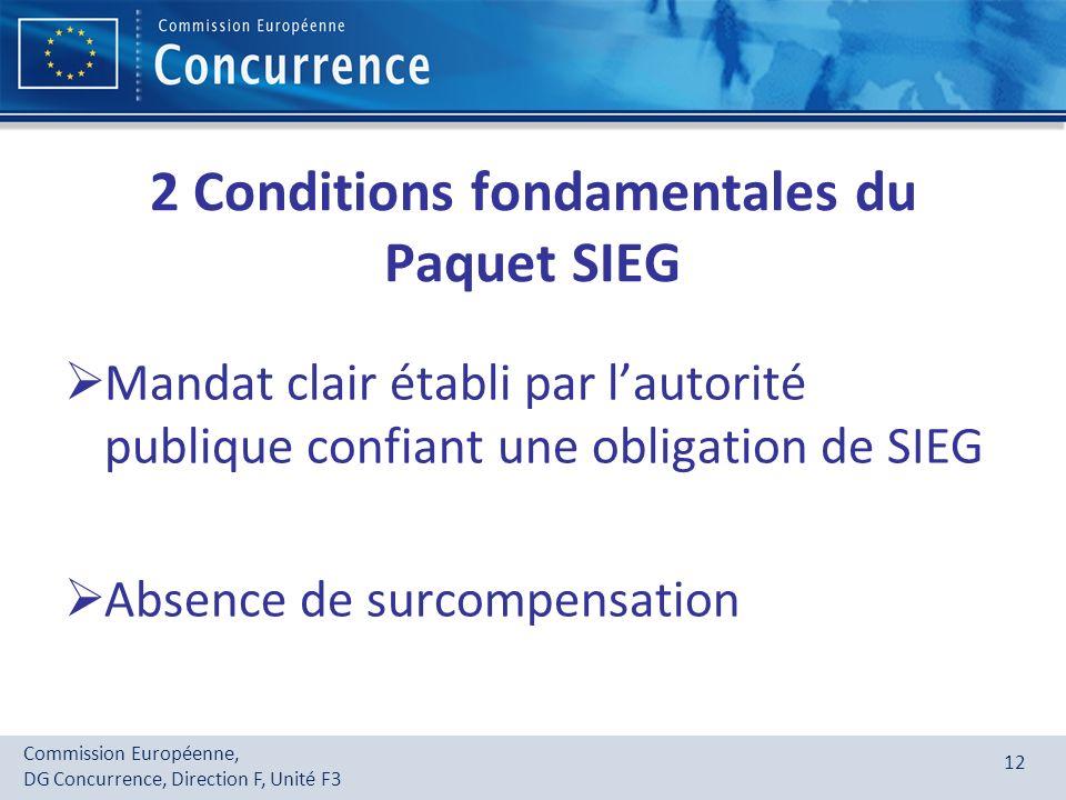 Commission Européenne, DG Concurrence, Direction F, Unité F3 12 2 Conditions fondamentales du Paquet SIEG Mandat clair établi par lautorité publique c