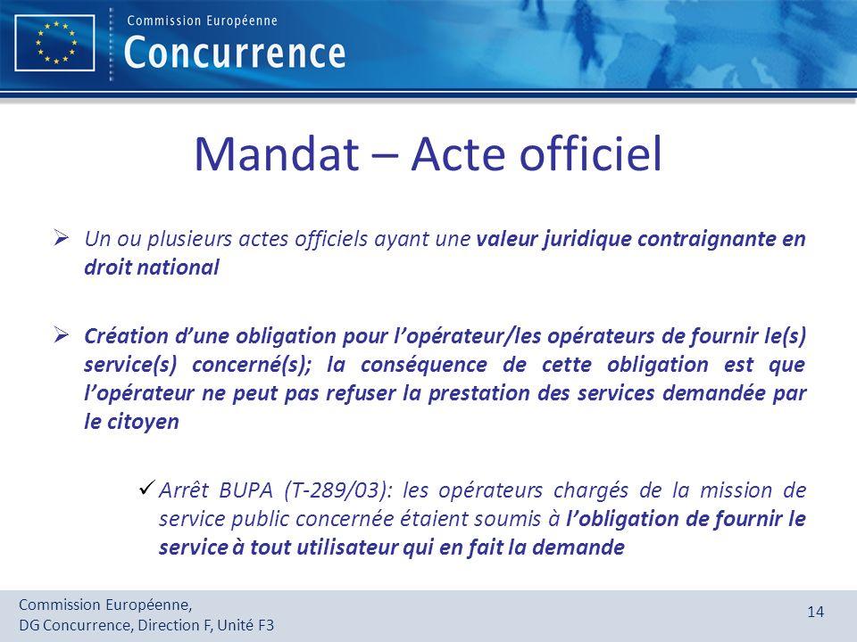 Commission Européenne, DG Concurrence, Direction F, Unité F3 14 Mandat – Acte officiel Un ou plusieurs actes officiels ayant une valeur juridique cont