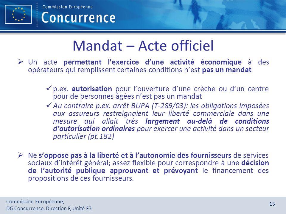 Commission Européenne, DG Concurrence, Direction F, Unité F3 15 Mandat – Acte officiel Un acte permettant lexercice dune activité économique à des opé