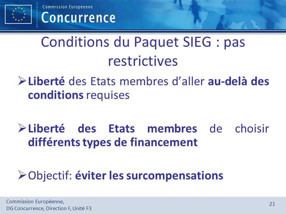 Commission Européenne, DG Concurrence, Direction F, Unité F3 21 Conditions du Paquet SIEG : pas restrictives Liberté des Etats membres daller au-delà