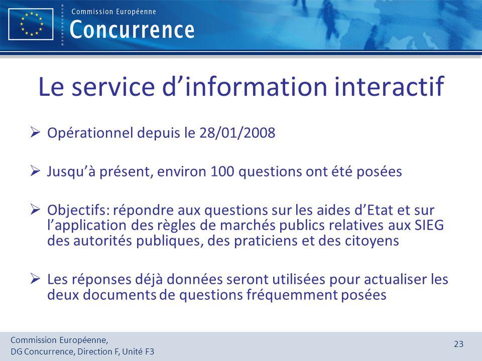 Commission Européenne, DG Concurrence, Direction F, Unité F3 23 Le service dinformation interactif Opérationnel depuis le 28/01/2008 Jusquà présent, e