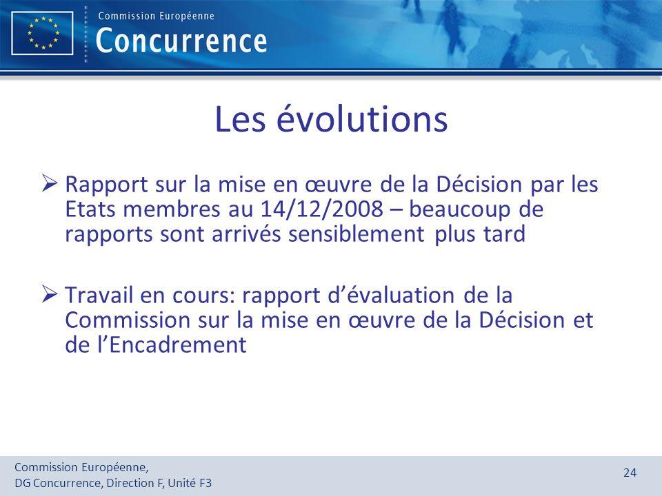 Commission Européenne, DG Concurrence, Direction F, Unité F3 24 Les évolutions Rapport sur la mise en œuvre de la Décision par les Etats membres au 14