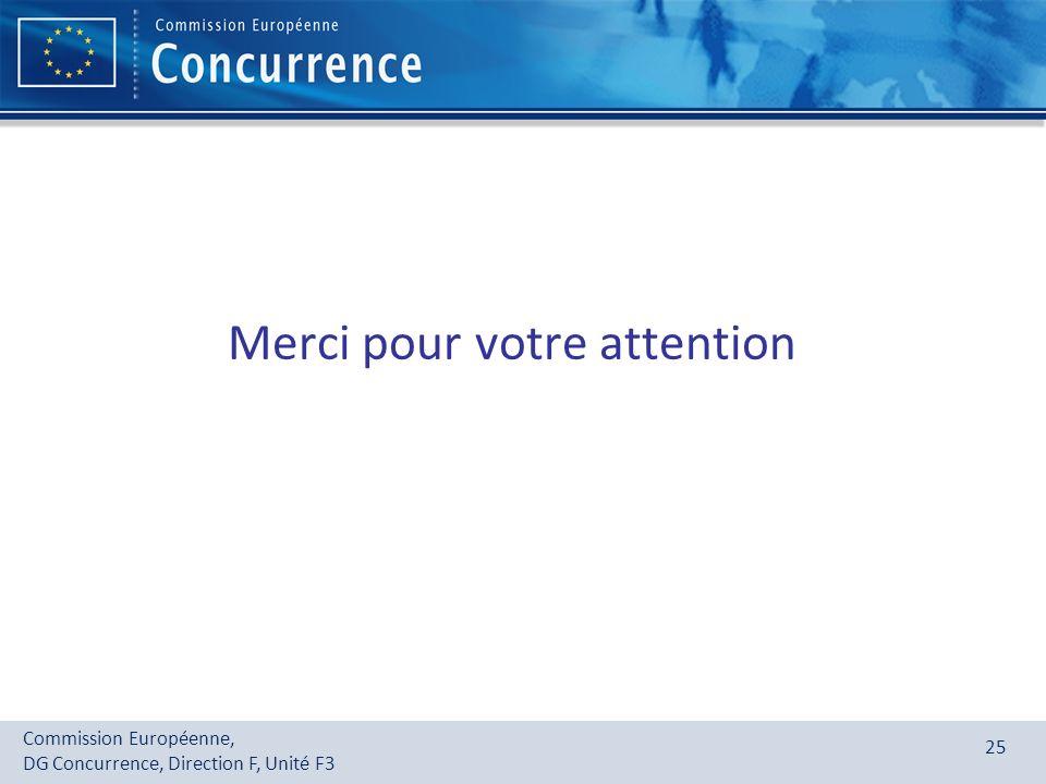 Commission Européenne, DG Concurrence, Direction F, Unité F3 25 Merci pour votre attention