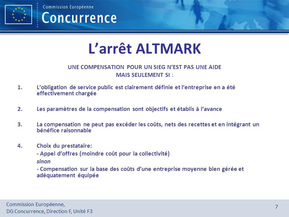 Commission Européenne, DG Concurrence, Direction F, Unité F3 8 Quelques exemples remplissant les critères Altmark Financement de régime dinvestissements pour la sécurité dapprovisionnement en électricité en Irlande (Cas N 475/2003); procédure ouverte, transparente et non discriminatoire Subventions finançant linfrastructure de télécommunications à haut débit (FR - Cas N381/2004); la procédure adoptée garantissait la sélection du candidat offrant le service au moindre coût pour la collectivité Compensations payées pour la distribution de produits dépargne postale (IT - Cas C 49/06); la redevance correspondait à une estimation appropriée du niveau des coûts dune entreprise moyenne, bien gérée et adéquatement équipée