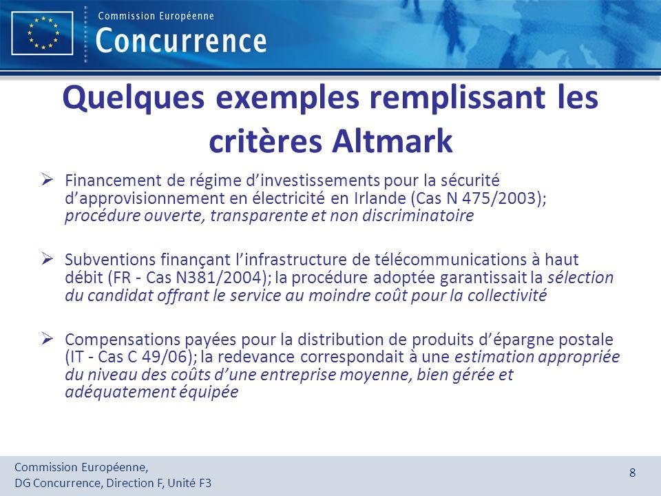 Commission Européenne, DG Concurrence, Direction F, Unité F3 8 Quelques exemples remplissant les critères Altmark Financement de régime dinvestissemen