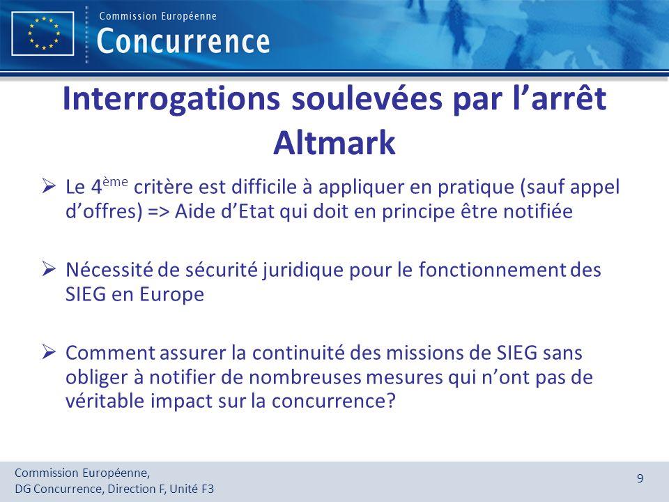 Commission Européenne, DG Concurrence, Direction F, Unité F3 9 Interrogations soulevées par larrêt Altmark Le 4 ème critère est difficile à appliquer