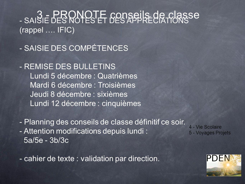 3 - PRONOTE conseils de classe 4 - Vie Scolaire 5 - Voyages Projets - SAISIE DES NOTES ET DES APPRÉCIATIONS (rappel …. IFIC) - SAISIE DES COMPÉTENCES