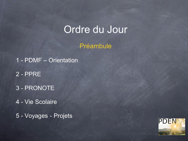 Ordre du Jour Préambule 1 - PDMF – Orientation 2 - PPRE 3 - PRONOTE 4 - Vie Scolaire 5 - Voyages - Projets