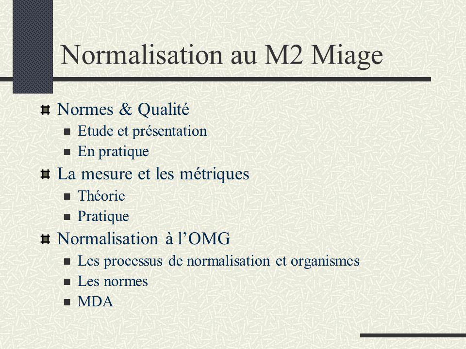 Normalisation au M2 Miage Normes & Qualité Etude et présentation En pratique La mesure et les métriques Théorie Pratique Normalisation à lOMG Les processus de normalisation et organismes Les normes MDA