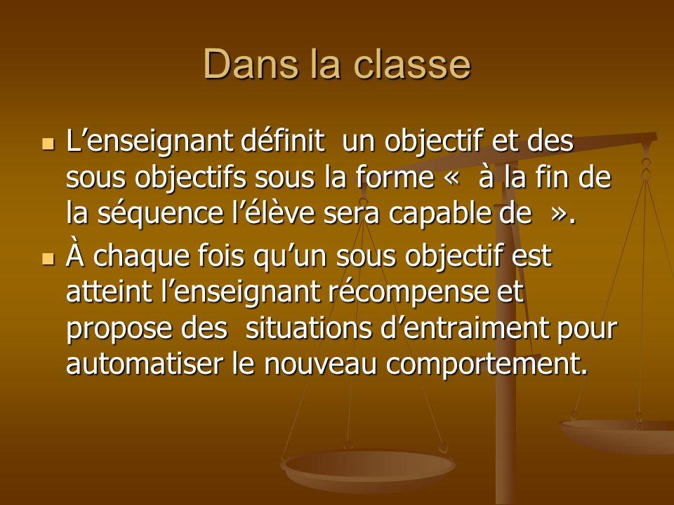 Dans la classe Lenseignant définit un objectif et des sous objectifs sous la forme « à la fin de la séquence lélève sera capable de ». Lenseignant déf