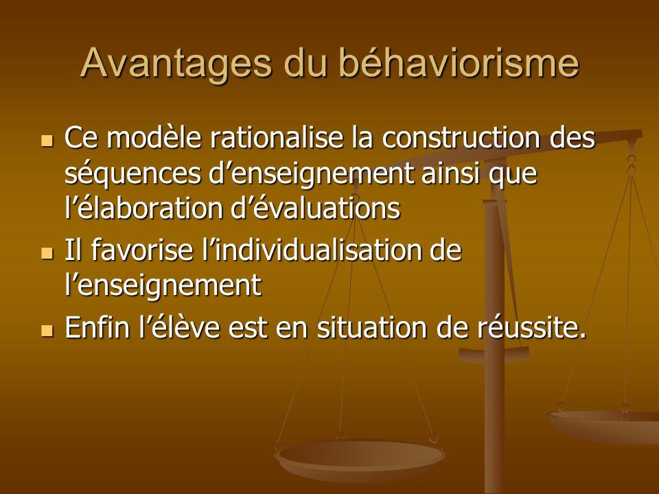 Avantages du béhaviorisme Ce modèle rationalise la construction des séquences denseignement ainsi que lélaboration dévaluations Ce modèle rationalise