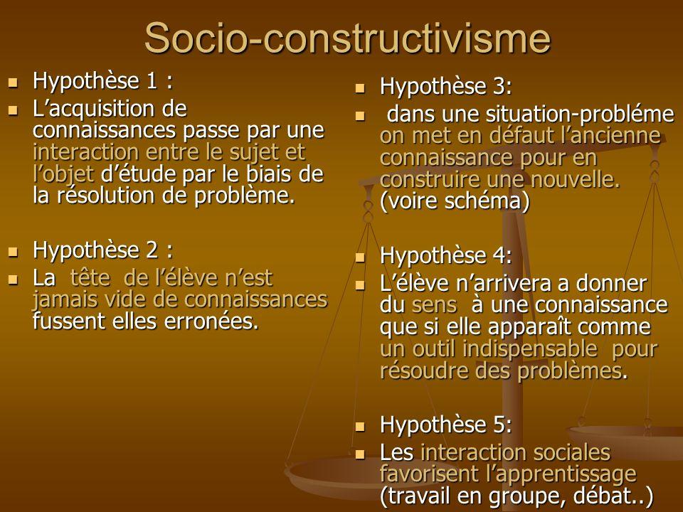 Socio-constructivisme Hypothèse 1 : Hypothèse 1 : Lacquisition de connaissances passe par une interaction entre le sujet et lobjet détude par le biais de la résolution de problème.