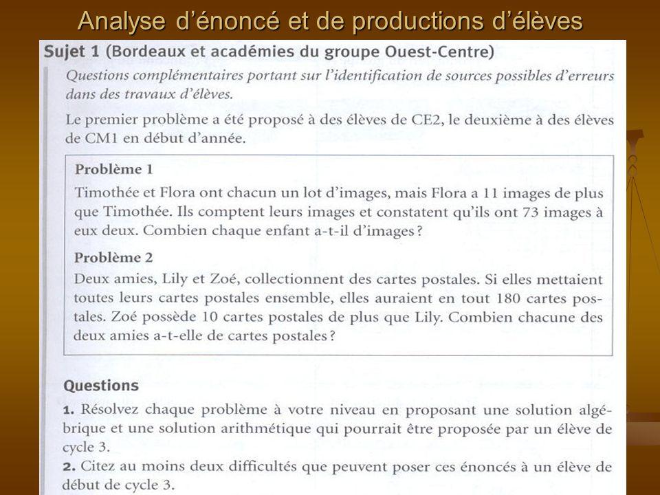 Analyse dénoncé et de productions délèves