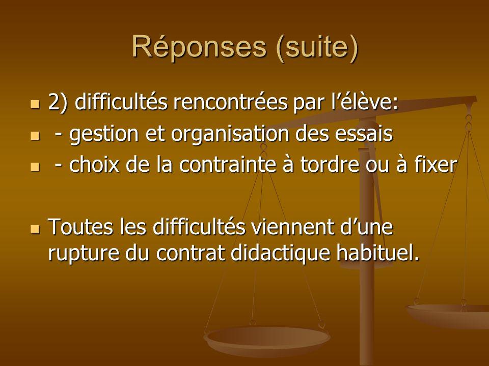 Réponses (suite) 2) difficultés rencontrées par lélève: 2) difficultés rencontrées par lélève: - gestion et organisation des essais - gestion et organ