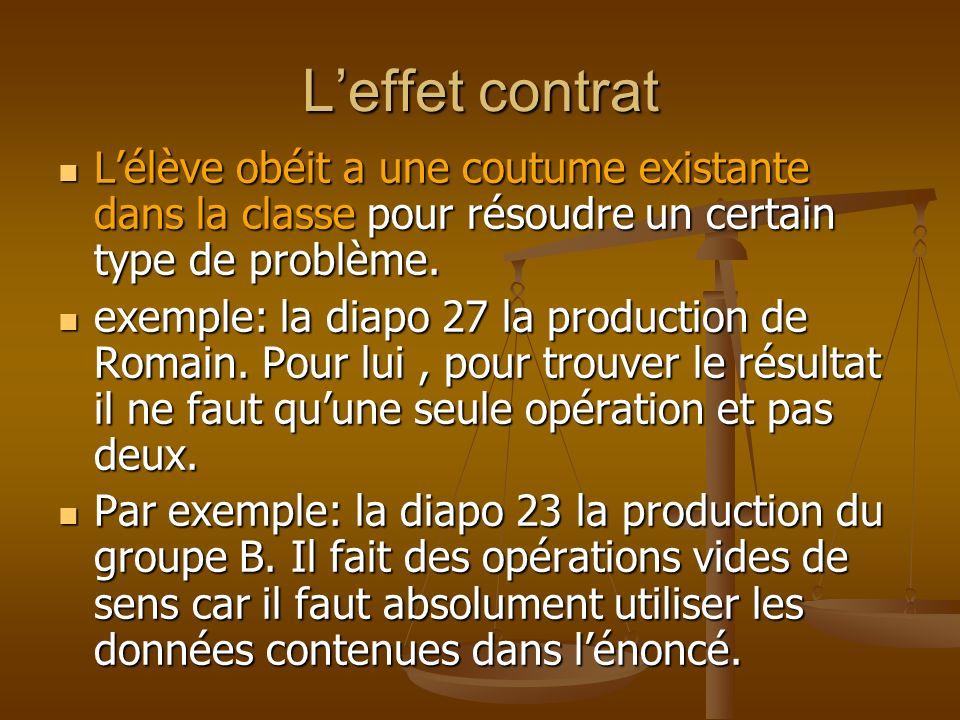 Leffet contrat Lélève obéit a une coutume existante dans la classe pour résoudre un certain type de problème. Lélève obéit a une coutume existante dan