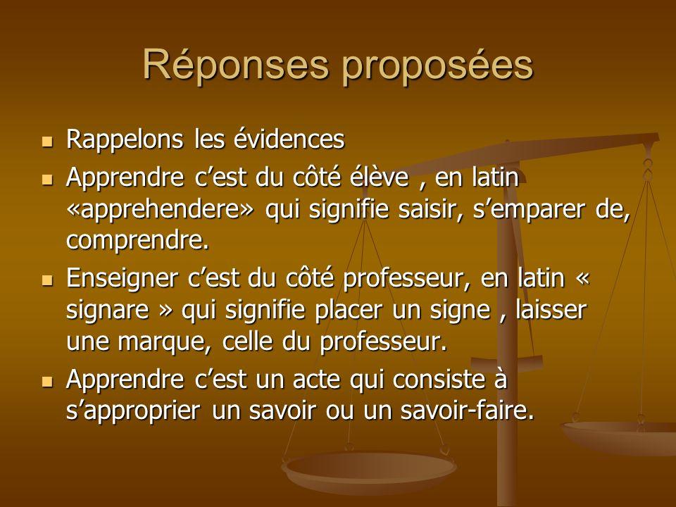 Réponses proposées Rappelons les évidences Rappelons les évidences Apprendre cest du côté élève, en latin «apprehendere» qui signifie saisir, semparer de, comprendre.