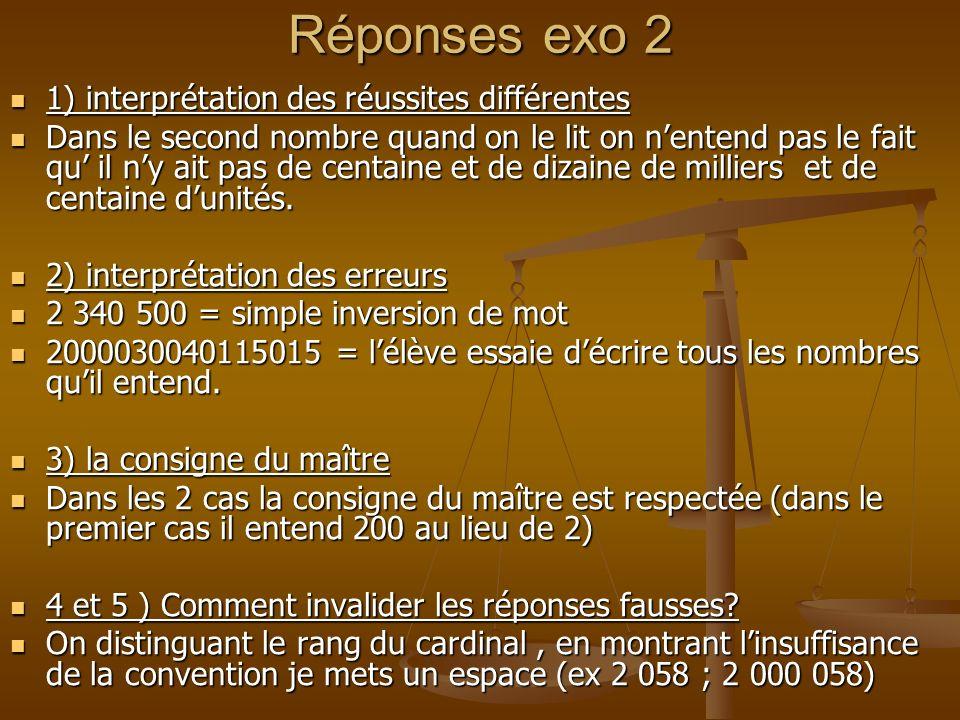 Réponses exo 2 1) interprétation des réussites différentes 1) interprétation des réussites différentes Dans le second nombre quand on le lit on nenten
