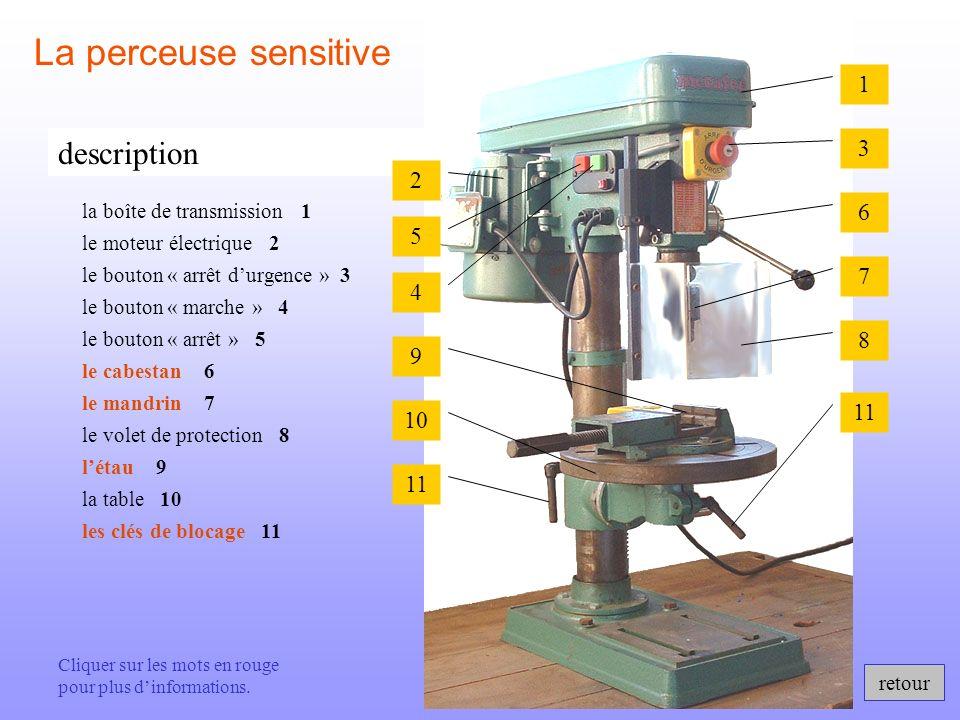 retour description La perceuse sensitive le cabestan 6 le mandrin 7 létau 9 les clés de blocage 11 le bouton « marche » 4 le bouton « arrêt » 5 la tab