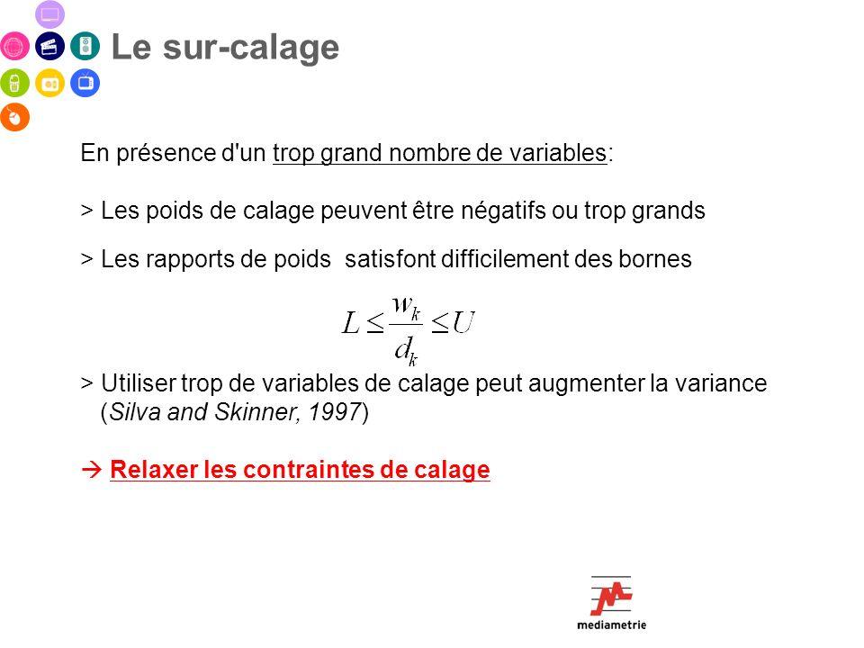 En présence d'un trop grand nombre de variables: > Les poids de calage peuvent être négatifs ou trop grands > Les rapports de poids satisfont difficil