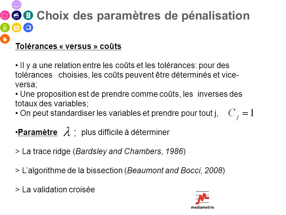 Choix des paramètres de pénalisation Tolérances « versus » coûts Il y a une relation entre les coûts et les tolérances: pour des tolérances choisies,