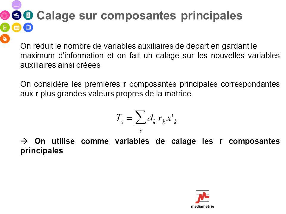 Calage sur composantes principales On réduit le nombre de variables auxiliaires de départ en gardant le maximum d'information et on fait un calage sur