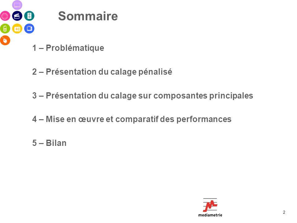 Sommaire 1 – Problématique 2 – Présentation du calage pénalisé 3 – Présentation du calage sur composantes principales 4 – Mise en œuvre et comparatif