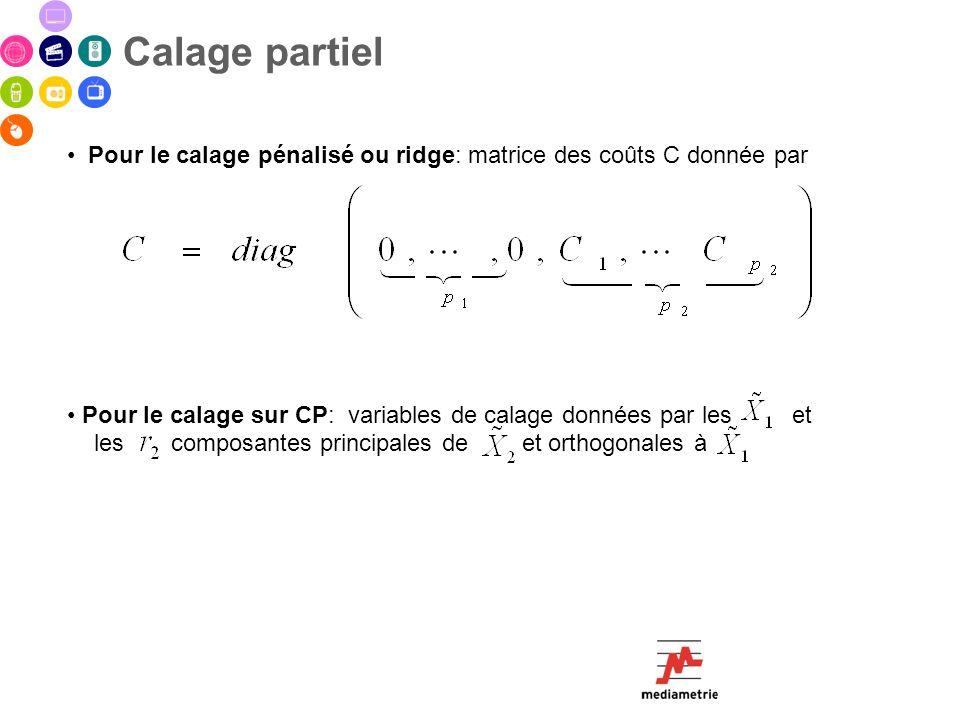 Pour le calage pénalisé ou ridge: matrice des coûts C donnée par Pour le calage sur CP: variables de calage données par les et les composantes princip