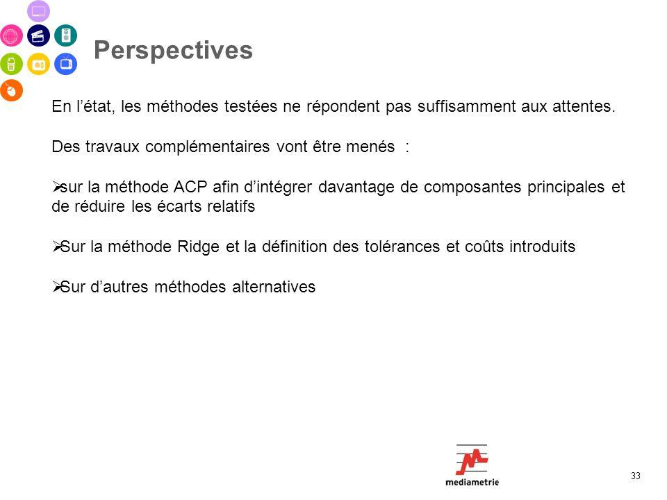 Perspectives 33 En létat, les méthodes testées ne répondent pas suffisamment aux attentes. Des travaux complémentaires vont être menés : sur la méthod