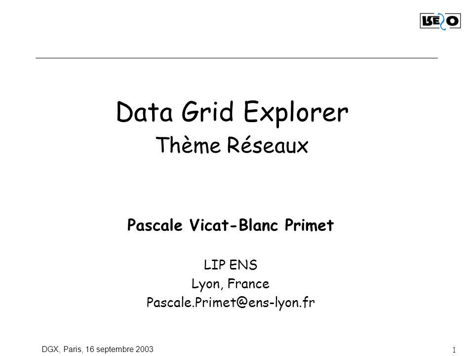 DGX, Paris, 16 septembre 2003 2 Plan Objectifs communauté réseaux Emulation de réseaux Cas détude: Ex: émulation dun « nuage réseau de grille» et étude des protocoles de transport.