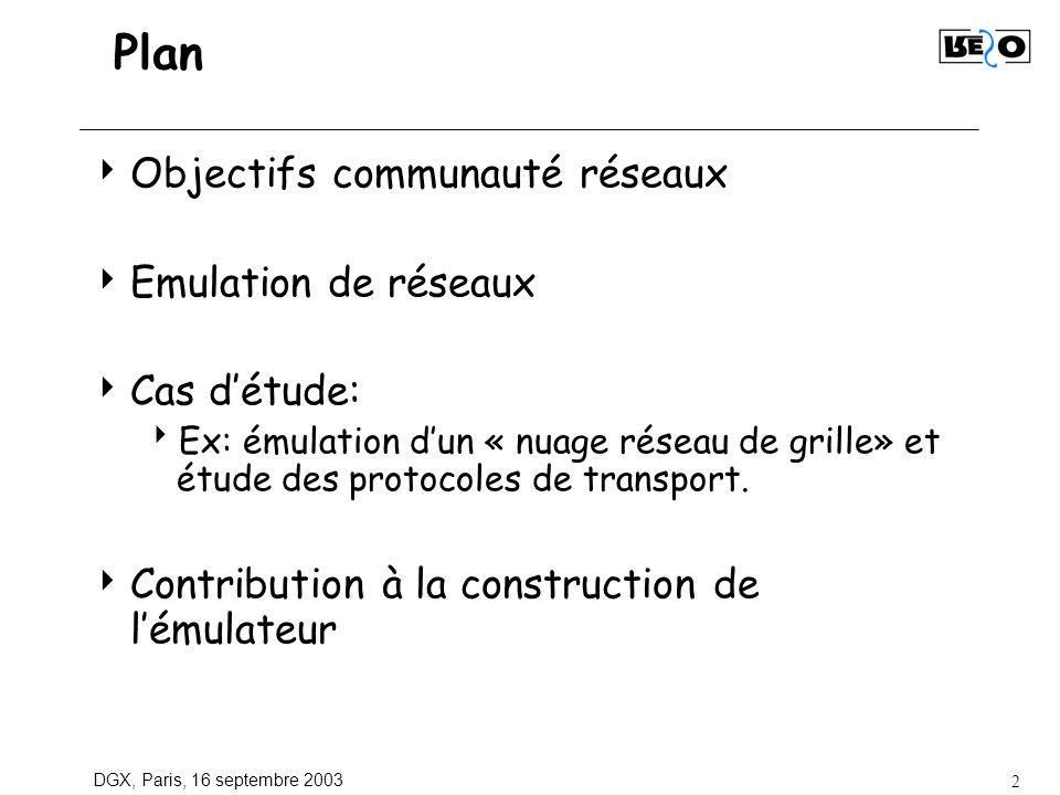 DGX, Paris, 16 septembre 2003 2 Plan Objectifs communauté réseaux Emulation de réseaux Cas détude: Ex: émulation dun « nuage réseau de grille» et étud