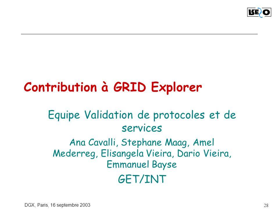 DGX, Paris, 16 septembre 2003 28 Contribution à GRID Explorer Equipe Validation de protocoles et de services Ana Cavalli, Stephane Maag, Amel Mederreg